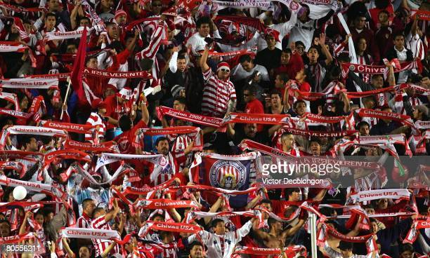 Fans of CD Chivas USA show their colors in the second half during the MLS game between Real Salt Lake and CD Chivas USA at the Home Depot Center on...