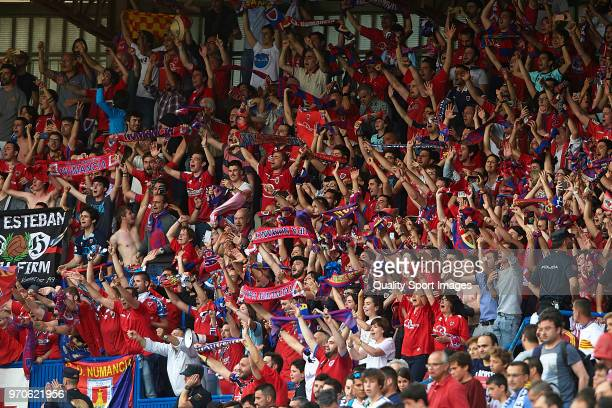 Fans of CD Numancia during the La Liga 123 play off match between Real Zaragoza and CD Numancia de Soria at La Romareda on June 9, 2018 in Zaragoza,...