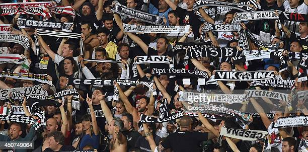 Fans of Cesena during the Serie B playoff final match between AC Cesena and US Latina at Dino Manuzzi Stadium on June 15 2014 in Cesena Italy