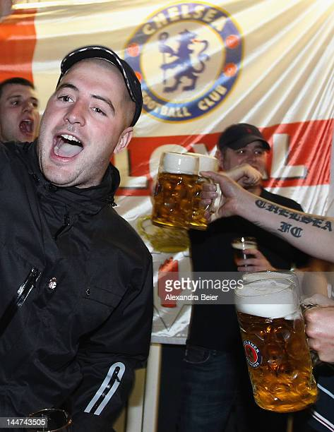 Fans of Chelsea FC celebrate one night before the UEFA Champions League final between FC Bayern Muenchen and Chelsea FC on May 18 2012 in Munich...