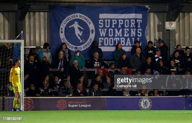 Fans of Chelsea with a banner saying Support Womens Football during the UEFA Women's Champions League Quarter Final First Leg match between Chelsea...