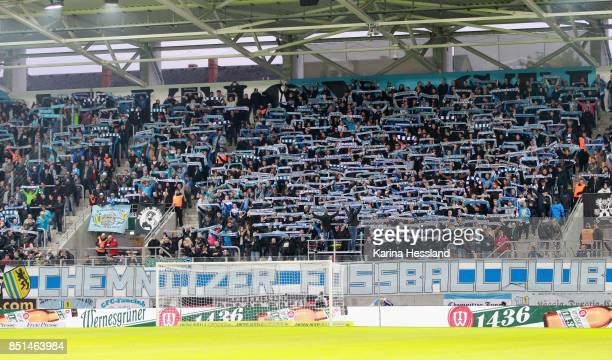 Fans of Chemnitz with scarves during the 3Liga match between Chemnitzer FC and SC Fortuna Koeln at Community4you Arena on September 20 2017 in...