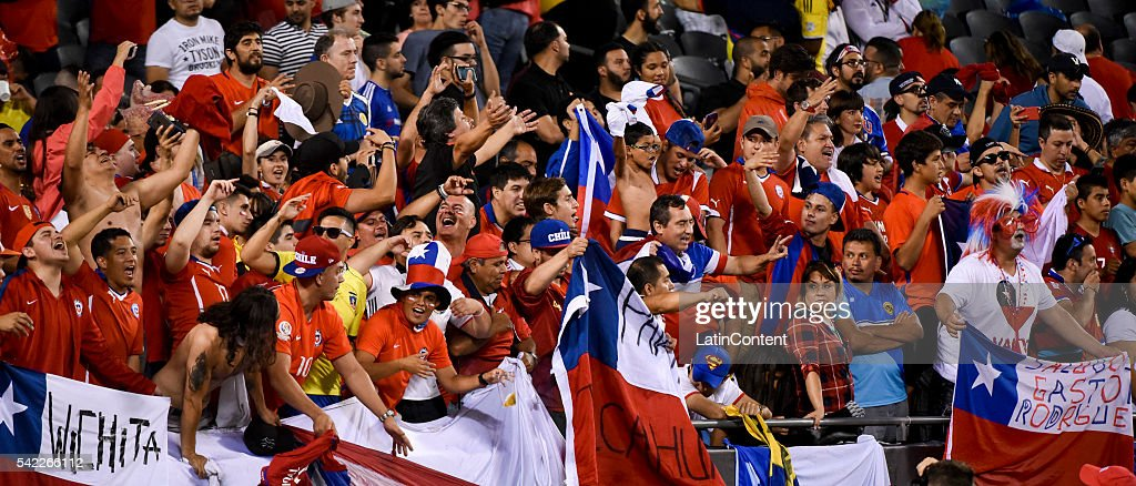 Fans of Chile celebrate after their team's victory on the Semifinal match between Colombia and Chile at Soldier Field as part of Copa America Centenario US 2016 on June 22, 2016 in Chicago, Illinois, US.
