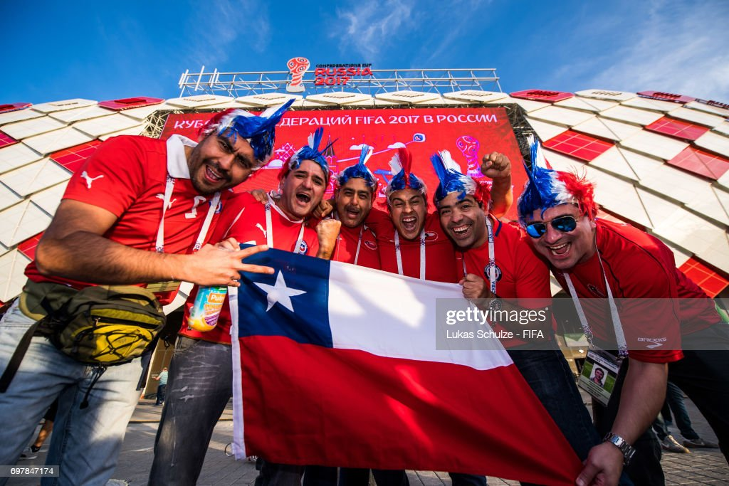 Fans of Chile celebrate prior to the FIFA Confederations Cup Russia 2017 Group B match between Cameroon and Chile at Spartak Stadium on June 18, 2017 in Moscow, Russia.