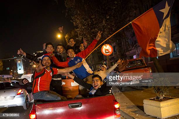 Fans of Chile celebrate their team's victory following the 2015 Copa America Chile Final match between Chile and Argentina on July 04 2015 in...