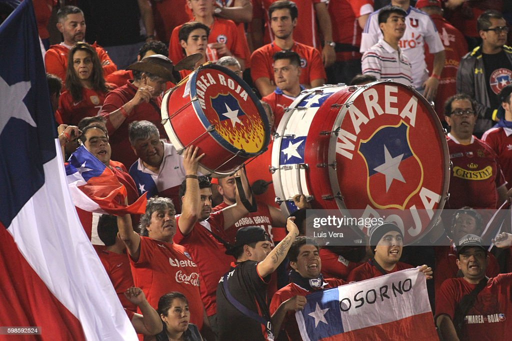Fans of Chile during a match between Paraguay and Chile as part of FIFA 2018 World Cup Qualifiers at Defensores del Chaco Stadium on September 01, 2016 in Asuncion, Paraguay.