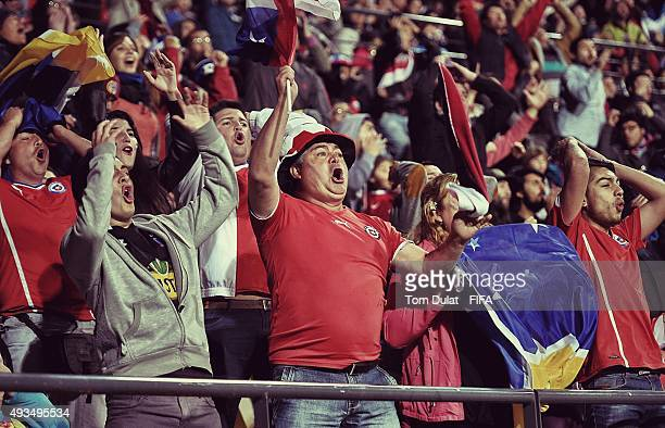 Fans of Chile support their team during the FIFA U17 Men's World Cup 2015 group A match between Chile and Nigeria at Estadio Sausalito on October 20...