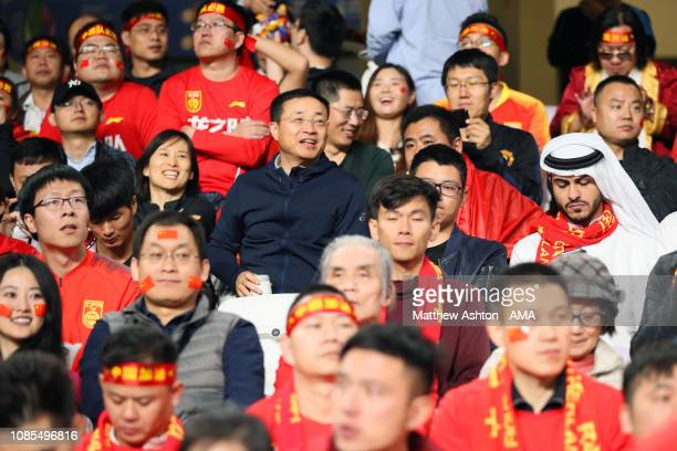 Fans of China look on during the AFC Asian Cup round of 16 match between Thailand and China at Hazza Bin Zayed Stadium on January 20, 2019 in Al Ain,...