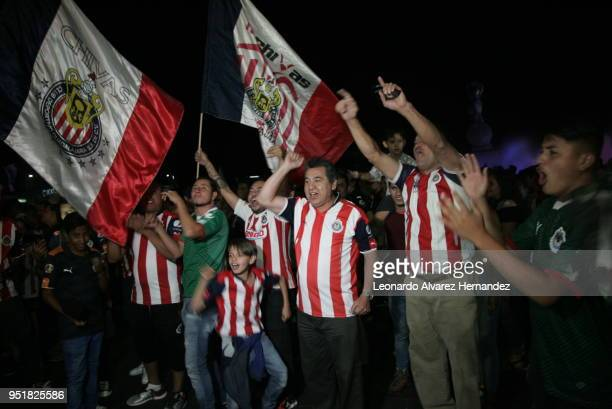 Fans of Chivas celebrate the championship of CONCACAF League 2018 against Toronto FC at LA minerva on April 25 2018 in Guadalakjara Mexico