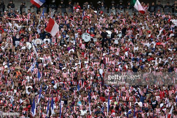 Fans of chivas cheer for their team prior the Final second leg match between Chivas and Tigres UANL as part of the Torneo Clausura 2017 Liga MX at...