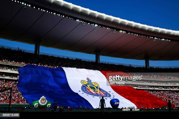 Fans of Chivas display a flag prior the Final second leg match between Chivas and Tigres UANL as part of the Torneo Clausura 2017 Liga MX at Chivas...