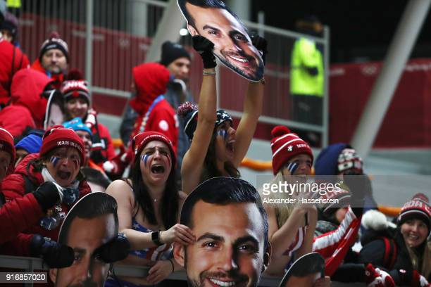 Fans of Chris Mazdzer of the United States react following his third run during the Luge Men's Singles on day two of the PyeongChang 2018 Winter...