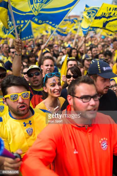 Fans of Clermont during the Celebration in a street of Clermont after the victory in Championship on June 5 2017 in Clermont France