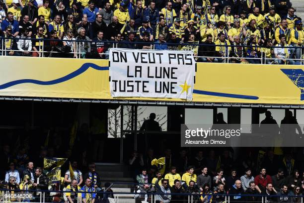 Fans of Clermont during the Champions Cup match between ASM Clermont and Racing 92 on April 1 2018 in Clermont France