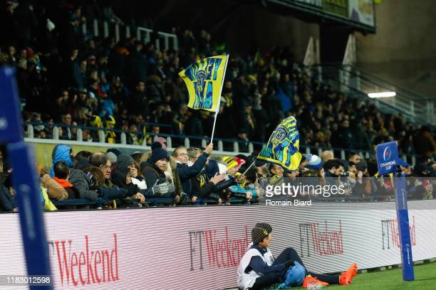 Fans of Clermont during the European Rugby Champions Cup Pool 3 match between ASM Clermont Auvergne and Harlequin FC on November 16 2019 in...