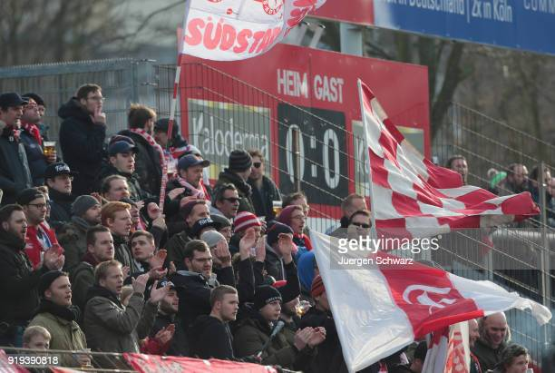 Fans of Cologne support their team during the 3 Liga match between SC Fortuna Koeln and SV Wehen Wiesbaden at Suedstadion on February 17 2018 in...
