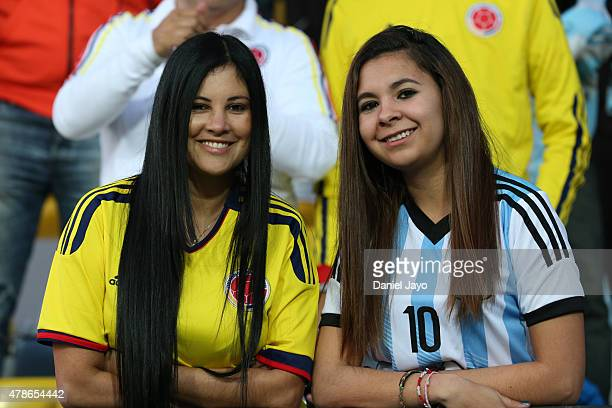 Fans of Colombia and Argentina enjoy the atmosphere prior the 2015 Copa America Chile quarter final match between Argentina and Colombia at Sausalito...