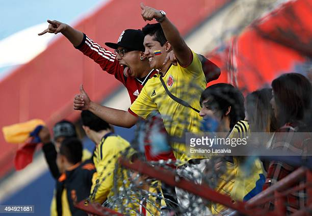 Fans of Colombia cheer for their team during the International Friendly match between Colombia and Senegal at Pedro Bidegain Stadium on May 31 2014...