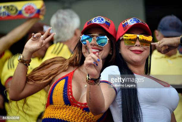 Fans of Colombia cheer for their team prior to a match between Colombia and Brazil as part of FIFA 2018 World Cup Qualifiers at Metropolitano Roberto...