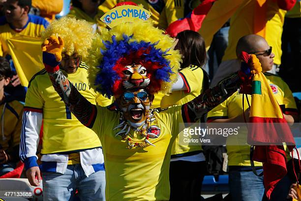 Fans of Colombia enjoy the atmosphere prior the 2015 Copa America Chile Group C match between Colombia and Venezuela at El Teniente Stadium on June...