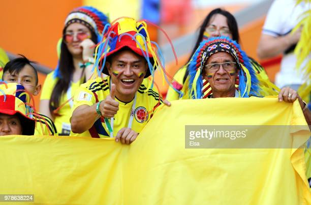 Fans of Colombia enjoy the pre match atmosphere ahead of the 2018 FIFA World Cup Russia group H match between Colombia and Japan at Mordovia Arena on...