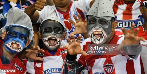Fans of Colombian team Junior wait for the start of the Copa Sudamericana semifinal second leg football match against Brazilian Flamengo at the...
