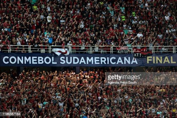 Fans of Colon and Independiente del Valle cheer their team during the final of Copa CONMEBOL Sudamericana 2019 between Colon and Independiente del...