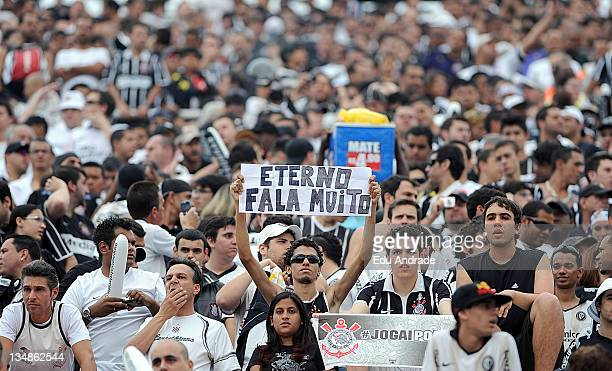 Fans of Corinthians before the game between Corinthians and Palmeiras and as part of round 38 of the Serie A Brazil in Pacaembu stadium on December...