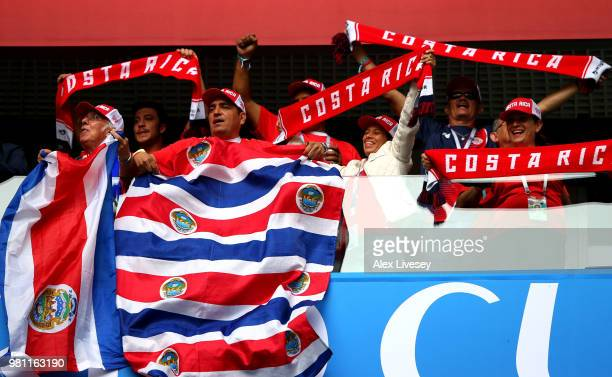 Fans of Costa Rica enjoy the pre match atmospehre prior to the 2018 FIFA World Cup Russia group E match between Brazil and Costa Rica at Saint...