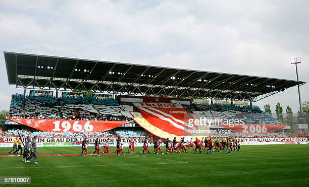 Fans of Cottbus celebrates before the Second Bundesliga match between Energie Cottbus and 1860 Munich at the Stadion der Freundschaft on May 14 2006...