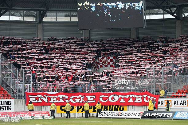 Fans of Cottbus during the Third League match between Hallescher FC and FC Energie Cottbus at ErdgasSportpark on March 14 2015 in Halle Germany