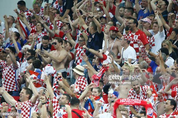 Fans of Croatia celebrate after a goal during the 2018 FIFA World Cup Russia semi final match between Croatia and England at the Luzhniki Stadium in...