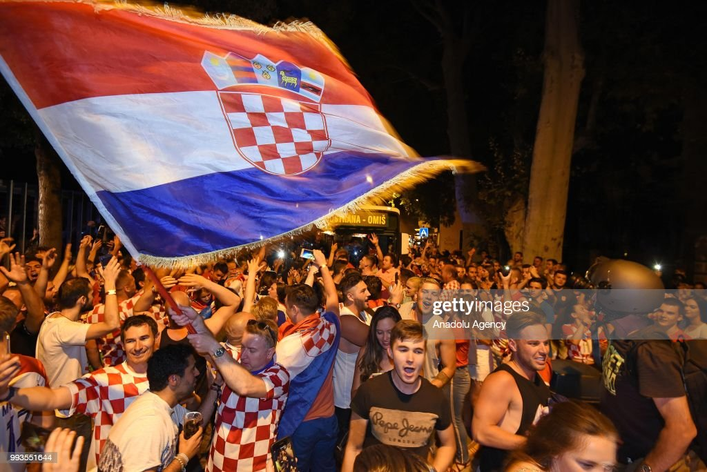 Fans of Croatia celebrate after Croatia won the 2018 FIFA World Cup Russia Quarter Final match between Russia and Croatia at the Fisht Stadium, on July 07, 2018 in Split, Croatia. Croatia have advanced to World Cup semifinal after beating Russia 4-3 on penalties.