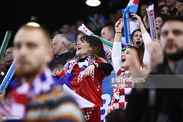 Fans of Croatia celebrate during the 25th IHF Men's World Championship 2017 match between Croatia and Belarus at Kindarena on January 16 2017 in...