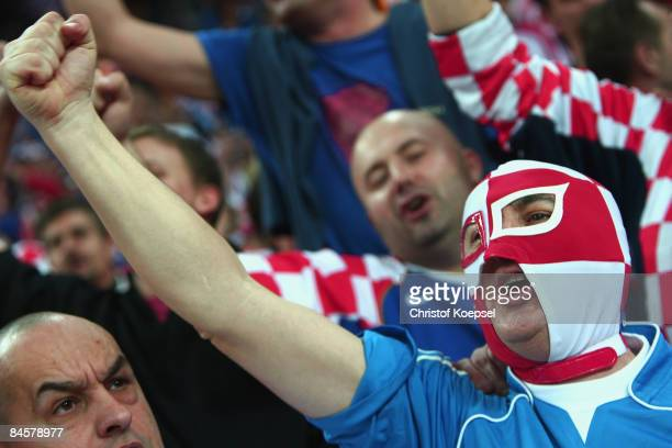 Fans of Croatia celebrate their team during the Men's World Handball Championships final match between France and Croatia at the Zagreb Arena on...