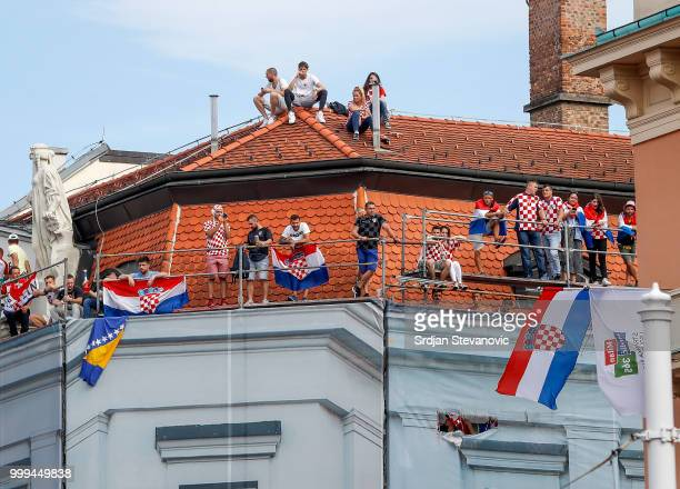 Fans of Croatia national football team attend the match from the roof during the Final match on July 15 2018 in Zagreb This is the first time Croatia...