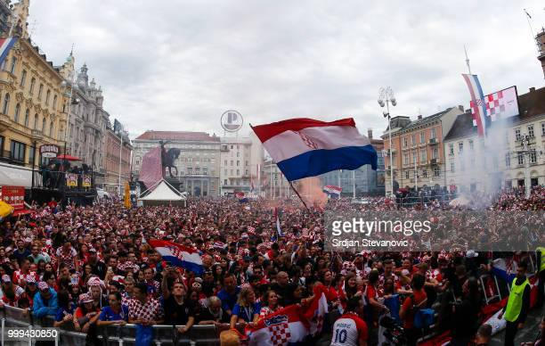 Fans of Croatia national football team before the Final match on July 15 2018 in Zagreb Croatia This is the first time Croatia has reached the final...