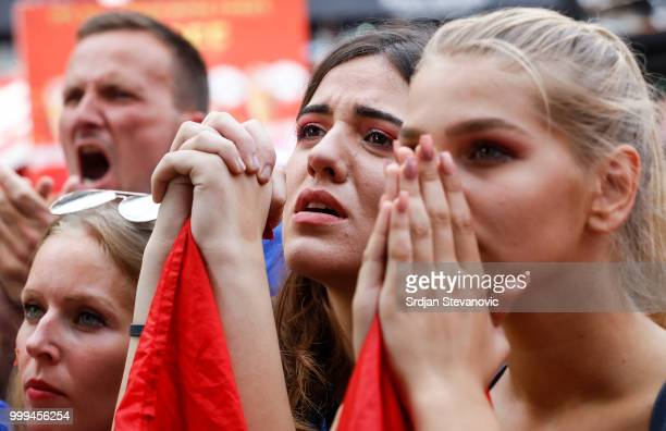 Croatia's fans celebrate after watching the broadcast of the match at the city's streets on July 15 2018 in Zagreb This is the first time Croatia has...