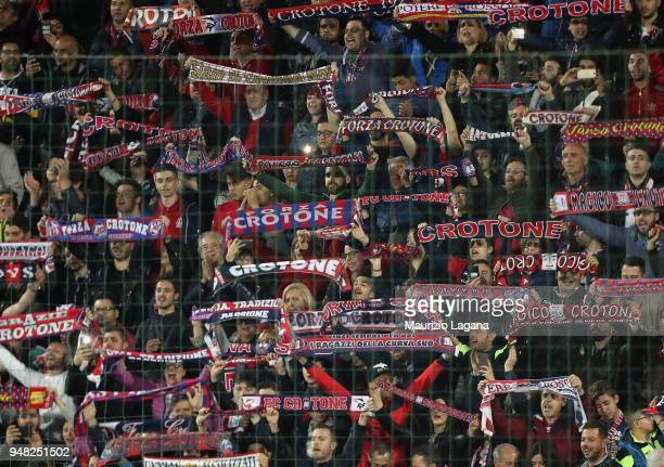 Fans of Crotone during the serie A match between FC Crotone and Juventus at Stadio Comunale Ezio Scida on April 18, 2018 in Crotone, Italy.