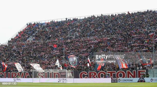 Fans of Crotone during the Serie A match between FC Crotone and FC Internazionale at Stadio Comunale Ezio Scida on April 9 2017 in Crotone Italy