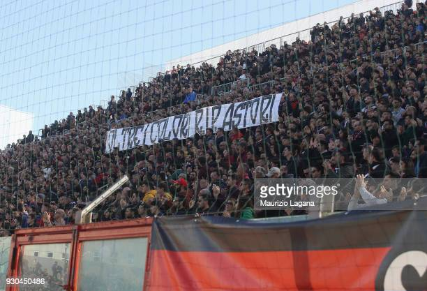 Fans of Crotone show a banner for Davide Astori during the Serie A match between FC Crotone and UC Sampdoria at Stadio Comunale Ezio Scida on March...