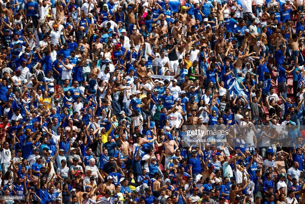 Fans of Cruzeiro cheer during the match between Sao Paulo and Cruzeiro for the Brasileirao Series A 2017 at Morumbi Stadium on August 13, 2017 in Sao Paulo, Brazil.