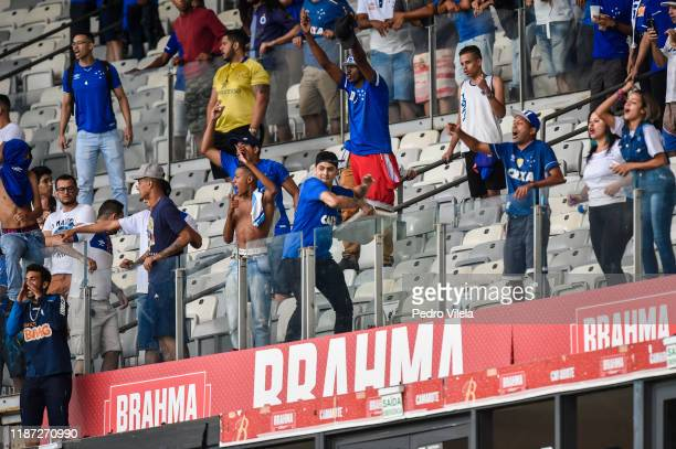 Fans of Cruzeiro react after losing a match against Palmeiras as part of Brasileirao Series A 2019 at Mineirao Stadium on December 8 2019 in Belo...