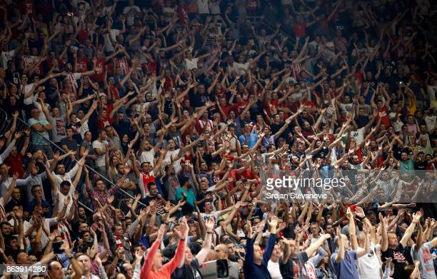 Fans of Crvena Zvezda give their support during the 2017/2018 Turkish Airlines EuroLeague Regular Season game between Crvena Zvezda mts Belgrade and...