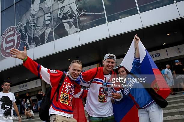 Fans of Czech Republic and Russia arrive for the 2016 World Cup of Hockey preparation match between Czech Republic and Russia at O2 Arena Prague on...
