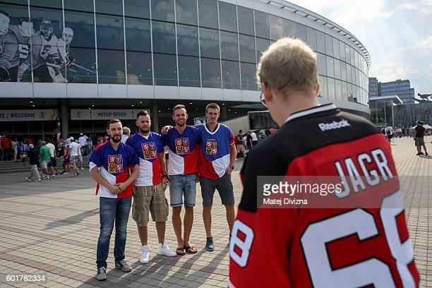 Fans of Czech Republic pose for photo as they arrive for the 2016 World Cup of Hockey preparation match between Czech Republic and Russia at O2 Arena...