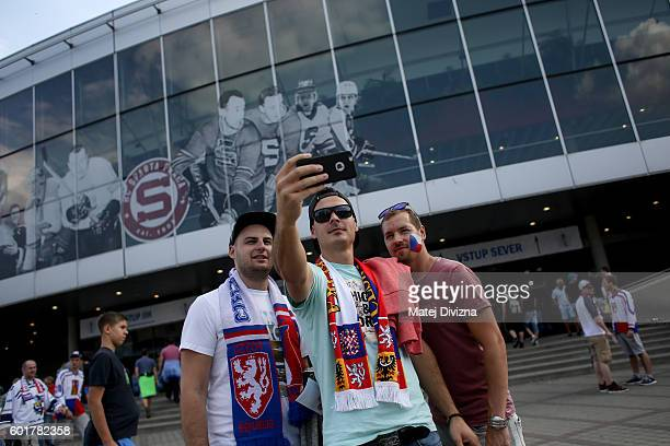 Fans of Czech Republic pose for 'selfie' photo as they arrive for the 2016 World Cup of Hockey preparation match between Czech Republic and Russia at...