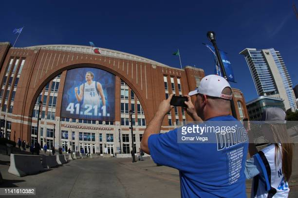 Fans of Dallas Mavericks take a picture prior the game between Phoenix Suns and Dallas Mavericks at American Airlines Center on April 9 2019 in...