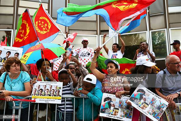 Fans of Daniel Teklehaimanot of Eritrea and MTNQhubeka line the street prior to stage eight of the 2015 Tour de France a 1815km stage between Rennes...