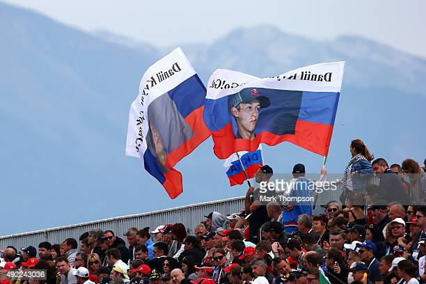 Fans of Daniil Kvyat of Russia and Infiniti Red Bull Racing show their support during the Formula One Grand Prix of Russia at Sochi Autodrom on...